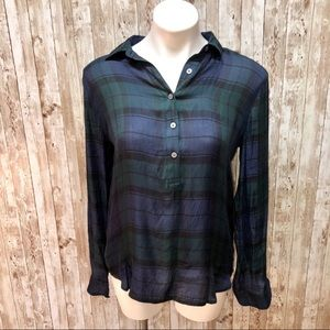 Ann Taylor Loft blue,green,black plaid flannel M